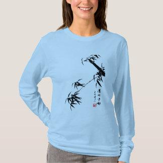 Rosa de bambú de la camiseta de la pintura del