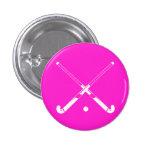 Rosa de botón de la silueta del hockey hierba pins