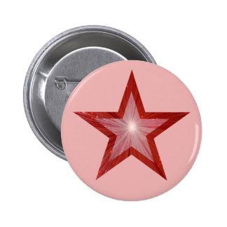 Rosa de botón rojo de la estrella pin redondo de 2 pulgadas