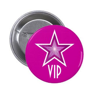 """Rosa de botón rosado de la estrella """"VIP"""" Pin Redondo De 2 Pulgadas"""