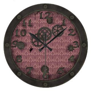 Rosa de bronce pesado de la porta de Steampunk Reloj Redondo Grande