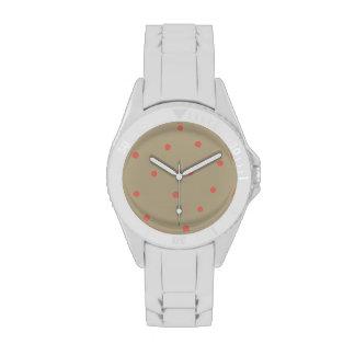 Rosa de color salmón de los lunares en Brown beige Relojes De Mano