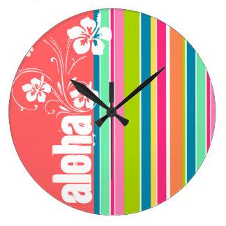 Rosa de color salmón y rayado verde de Seafoam: Ha Reloj Redondo Grande
