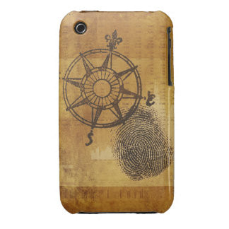 Rosa de compás antiguo con la huella dactilar iPhone 3 Case-Mate protector