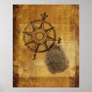 Rosa de compás antiguo con la huella dactilar póster
