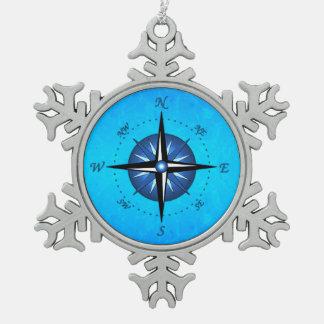 Rosa de compás azul adorno de peltre en forma de copo de nieve