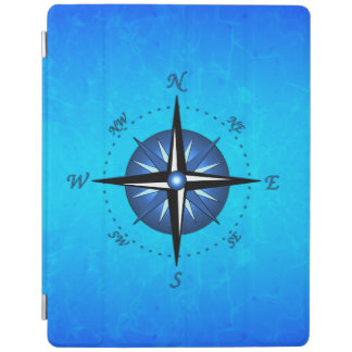 Rosa de compás azul cubierta de iPad