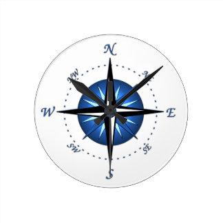 Rosa de compás azul reloj redondo mediano
