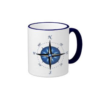 Rosa de compás azul taza de café