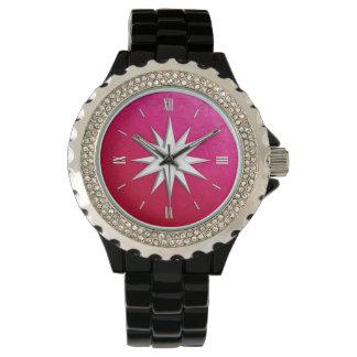 Rosa de compás de marfil - fondo del vidrio de relojes de pulsera