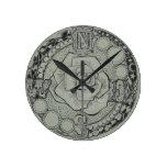 Rosa de compás de Steampunk del Victorian Reloj Redondo Mediano