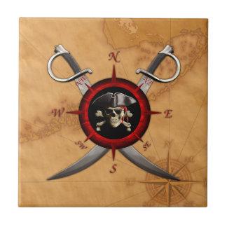 Rosa de compás del cráneo del pirata azulejo cuadrado pequeño