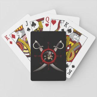 Rosa de compás del cráneo del pirata cartas de póquer
