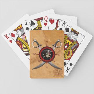 Rosa de compás del cráneo del pirata barajas de cartas