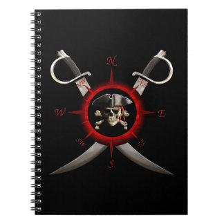 Rosa de compás del cráneo del pirata cuadernos