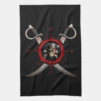 Rosa de compás del cráneo del pirata toalla de cocina