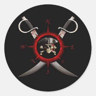 Rosa de compás del cráneo del pirata pegatina redonda