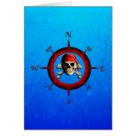 Rosa de compás del pirata tarjeta de felicitación
