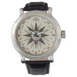 Rosa de compás del vintage reloj de mano