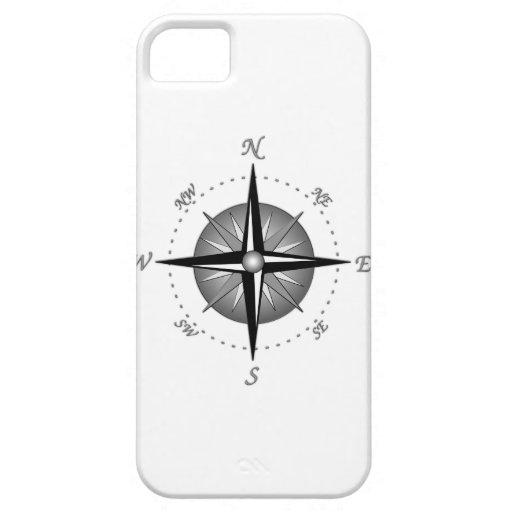 Rosa de compás gris iPhone 5 Case-Mate fundas