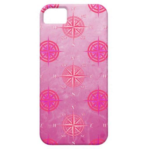 Rosa de compás náutico rosado iPhone 5 carcasa