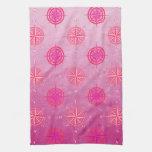 Rosa de compás náutico rosado toalla de mano