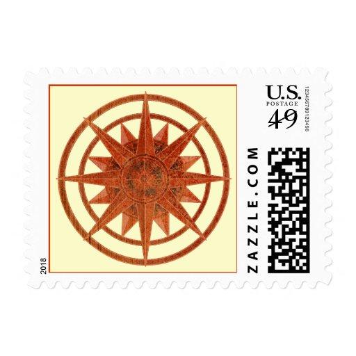 Rosa de compás timbre postal