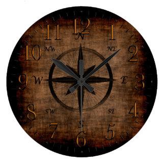 Rosa de compás viejo nostálgico reloj redondo grande
