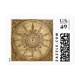 Rosa de compás viejo timbres postales