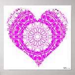 Rosa de cristal del mosaico del efecto (corazón) posters