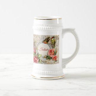 Rosa de damasco del vintage Stein Tazas