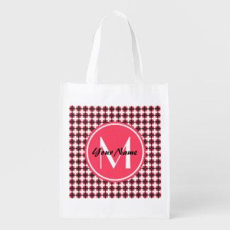 Rosa de encargo del monograma y modelo elegante bolsa de la compra