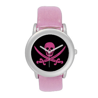 rosa de la bandera pirata del cráneo del pirata reloj