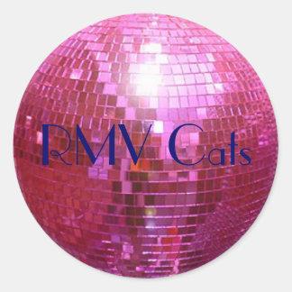 rosa de la bola de discoteca, gatos de RMV Pegatina Redonda
