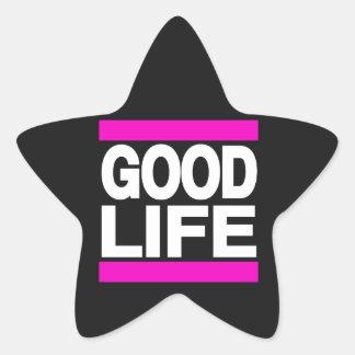 Rosa de la buena vida pegatina en forma de estrella