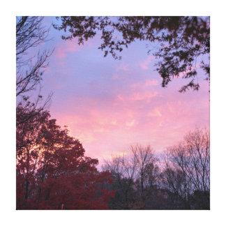 Rosa de la caída, azul, puesta del sol amarilla impresion de lienzo
