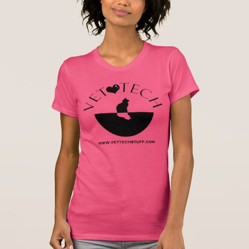 rosa de la camiseta de la tecnología del veterinar