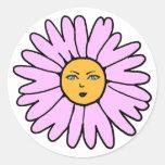 Rosa de la cara de la flor etiqueta