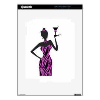 Rosa de la cebra de Martini de la chica marchosa iPad 2 Skin