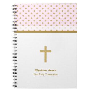 Rosa de la comunión con los lunares del oro notebook