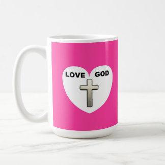 Rosa de la cruz del corazón de dios del amor de la taza de café