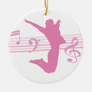 Rosa de la danza y del drama de la música adorno redondo de cerámica
