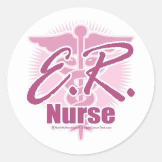Rosa de la enfermera del ER Etiquetas Redondas