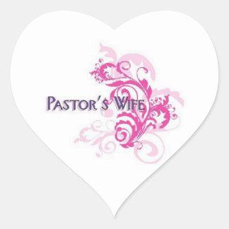 Rosa de la esposa de los pastores pegatinas de corazon