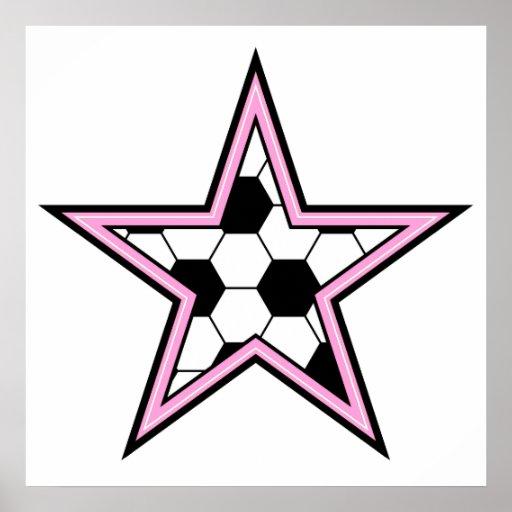 rosa de la estrella de fútbol póster