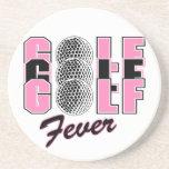 rosa de la fiebre del golf posavasos para bebidas
