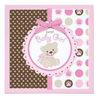 Rosa de la fiesta de bienvenida al bebé del chica invitación personalizada