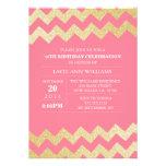 Rosa de la fiesta de cumpleaños de Chevron del bri Invitación
