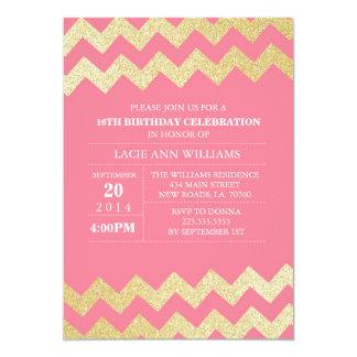 """Rosa de la fiesta de cumpleaños de Chevron del Invitación 5"""" X 7"""""""