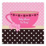 Rosa de la fiesta del té de la fiesta de bienvenid invitación